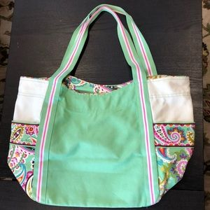 VERA BRADLEY sea foam green & paisley large tote